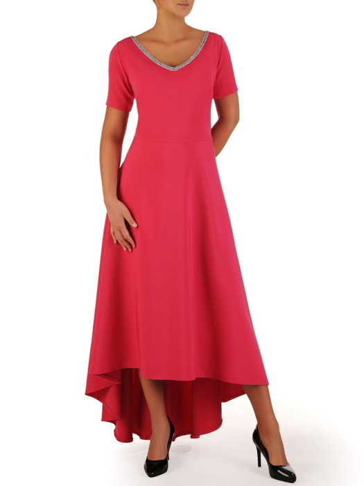 Asymetryczna sukienka z dekoltem wykończonym cyrkoniami 22771