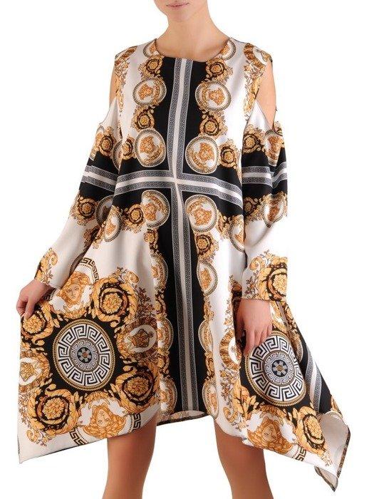 Asymetryczna sukienka z wycięciami na ramionach w modnym wzorze 23548