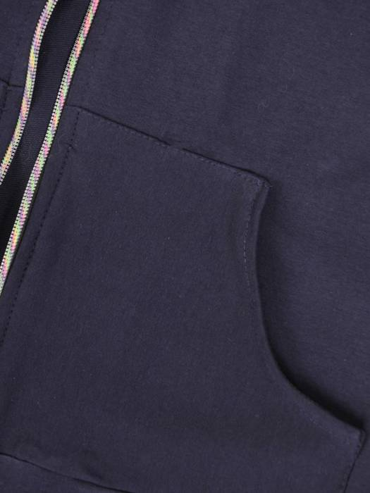 Bawełniany dres damski, bluza z kapturem zapinana na zamek 29680