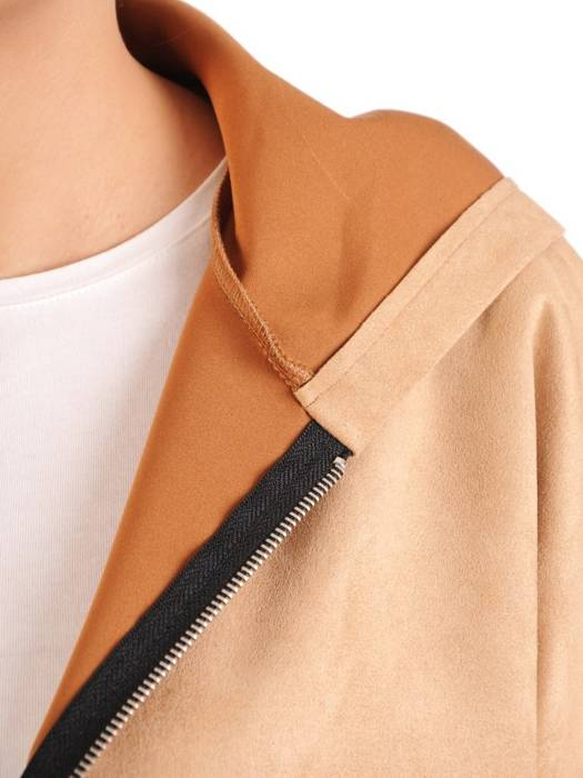 Beżowa bluza zamszowa z kapturem 29408
