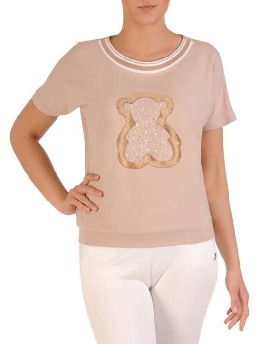Beżowa bluzka damska z ozdobnym nadrukiem 29656