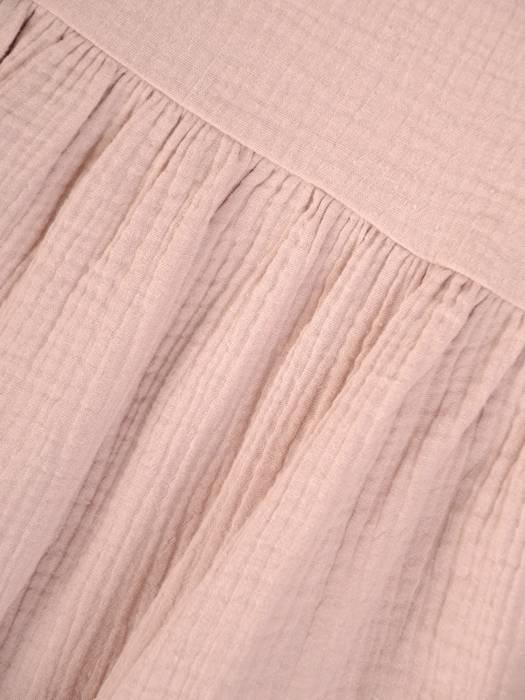 Beżowa, luźna tunika w fasonie maskującym brzuch 29705