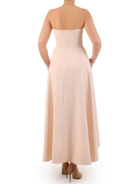 Beżowa sukienka gorsetowa, kreacja z dłuższym tyłem 24916