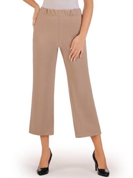 Beżowe szerokie spodnie z gumką w pasie 27320
