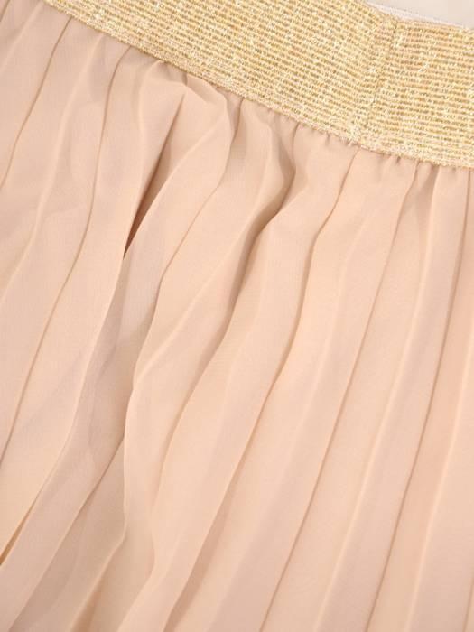 Beżowy komplet z plisowaną spódnicą 29745