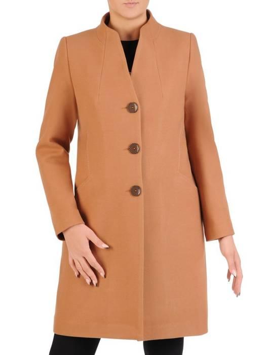 Beżowy płaszcz ze stójką 27644