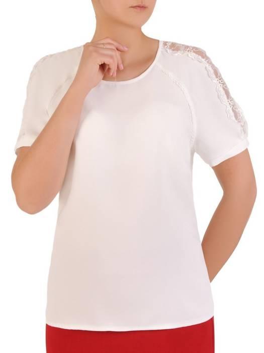 Biała bluzka z koronkowymi wstawkami 29905