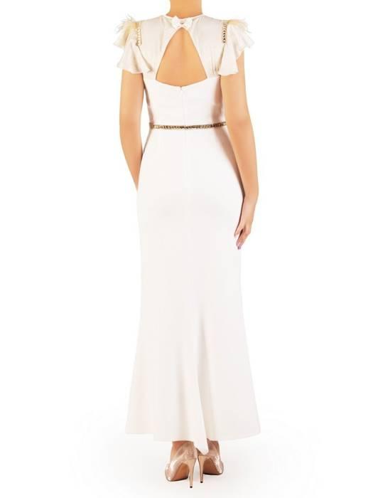 Biała sukienka maksi, kreacja z ozdobnymi rękawami 30461