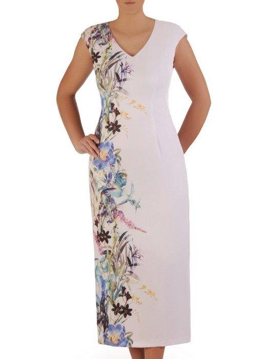 Biała sukienka z żółtym żakietem, modna kreacja na wesele 25859