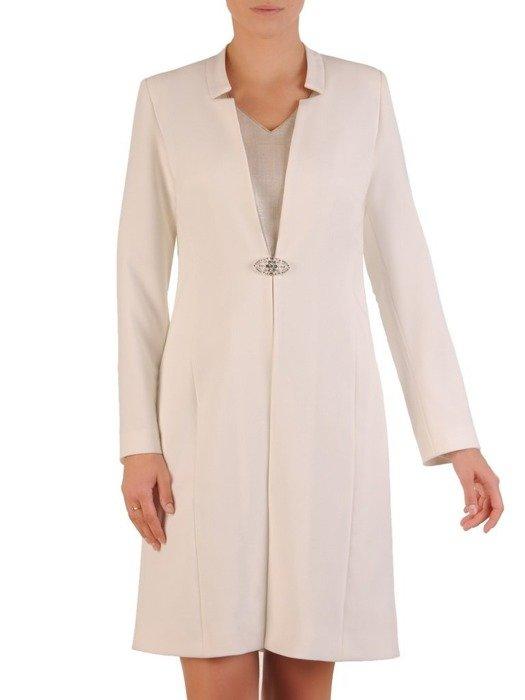 Biały płaszcz z ozdobnym zapięciem 26278
