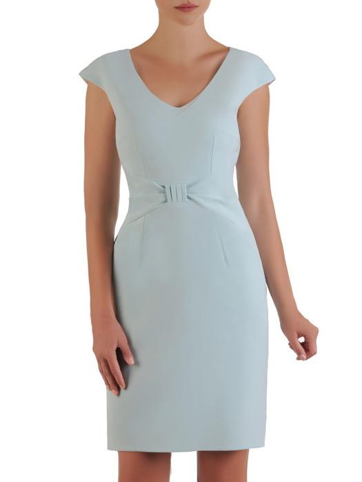 Błękitna sukienka z kokardą w talii, wizytowa kreacja z tkaniny 21486