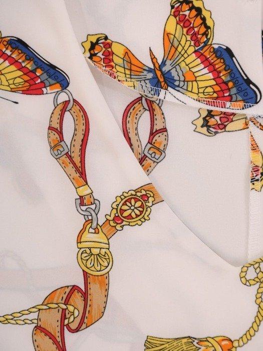 Bluzka damska z falbanami na rękawach 25009
