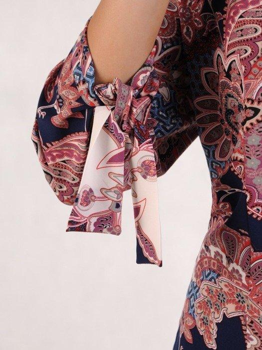 Bluzka koszulowa z ozdobnym wiązaniem na rękawach 23964
