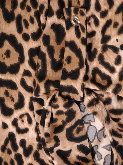 Bluzka, tunika w zwierzęcy wzór z rozpinanym dekoltem 30985