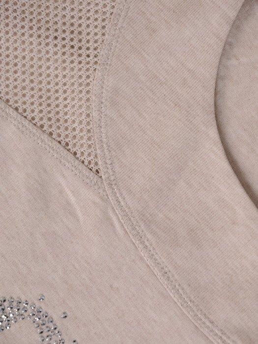 Bluzka z ażurowymi wstawkami i błyszczącym napisem 20294
