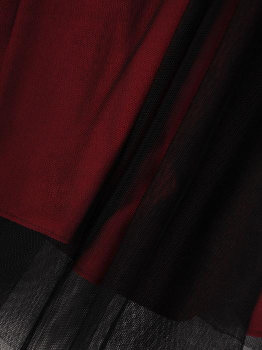 Bordowa suknia wieczorowa z błyszczącym topem 22245