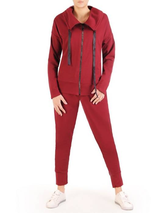 Bordowy dres damski, wygodne spodnie z bluzą zapinaną na zamek 29450
