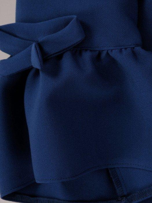 Chabrowa sukienka z marszczonymi mankietami 18658, elegancka kreacja wizytowa.