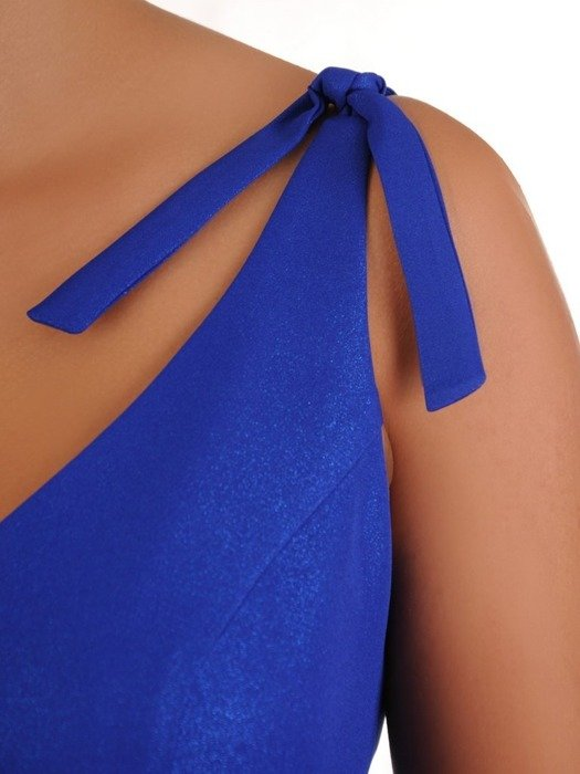 Chabrowa suknia w nowoczesnym fasonie, kreacja z efektownym rozcięciem 26742