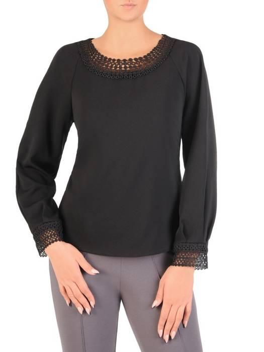 Czarna bluzka z ozdobnym dekoltem 27623