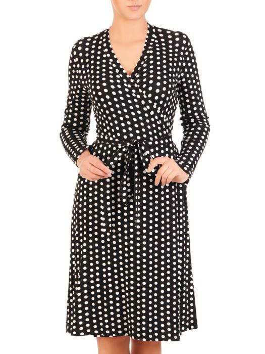 Czarna kopertowa sukienka z paskiem w białe grochy 30567