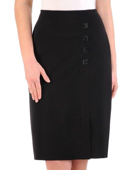 Czarna spódnica z ozdobnymi guzikami i rozcięciem 25310