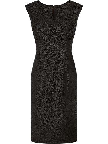 Czarna sukienka bez rękawów Doryda, wieczorowa kreacja z połyskiem.