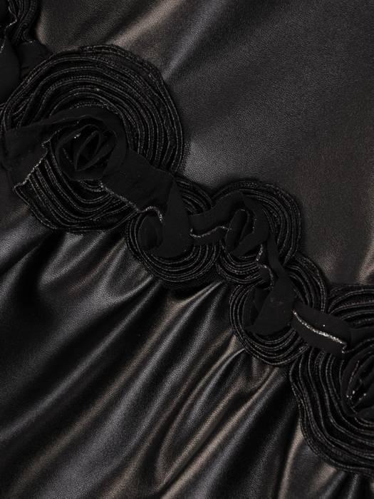 Czarna sukienka damska, efektowne połączenie dzianiny i eko skóry 27972