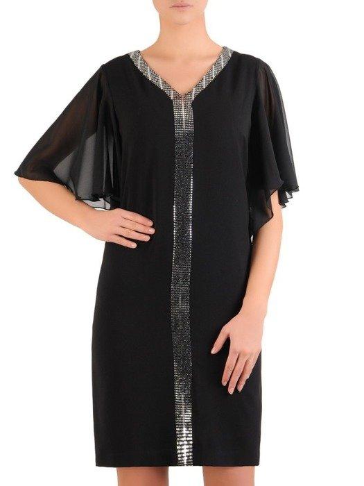 Czarna sukienka wieczorowa, prosta kreacja ze srebrną wstawką 24256