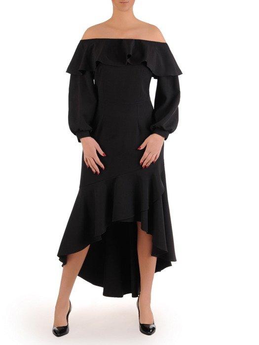Czarna sukienka z falbanami, wieczorowa kreacja z dekoltem carmen 18916