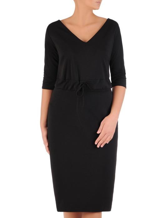 Czarna sukienka z ozdobnym ściągaczem, modna kreacja z dzianiny 22631