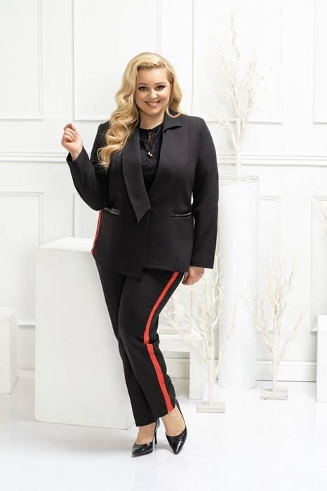 Czarne spodnie damskie z wyszczuplającym bocznym lampasem 28029