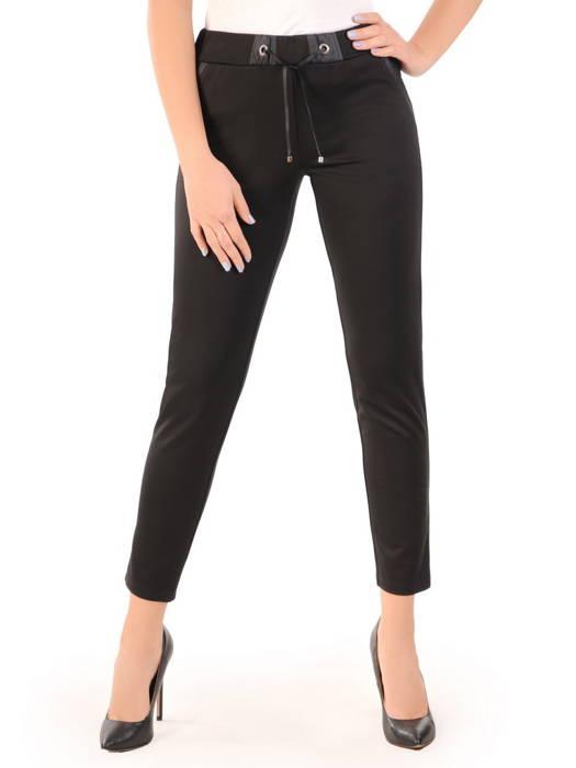 Czarne spodnie z dzianiny z ozdobnym wiązaniem 31056