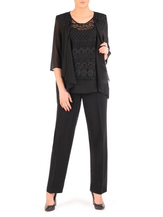 Czarny komplet damski, eleganckie spodnie z luźną bluzką 29142