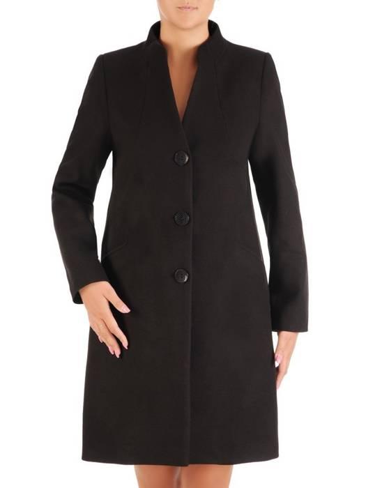 Czarny płaszcz ze stójką 26970