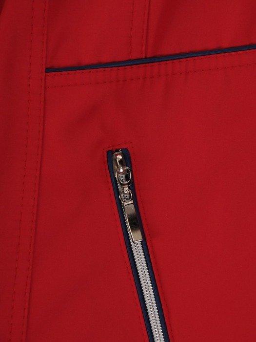 Czerwona kurtka z ozdobnymi zamkami i kapturem 25144