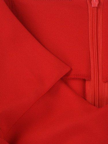 Czerwona sukienka Ofelia III, wiosenna kreacja z fantazyjnym dekoltem.