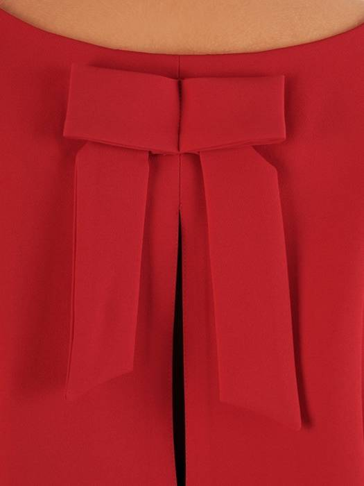 Czerwona sukienka damska, elegancka kreacja z kokardą na plecach 27238