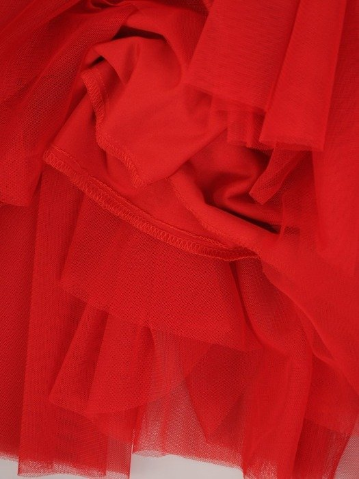 Czerwona sukienka gorsetowa, kreacja z tkaniny i tiulu 24884