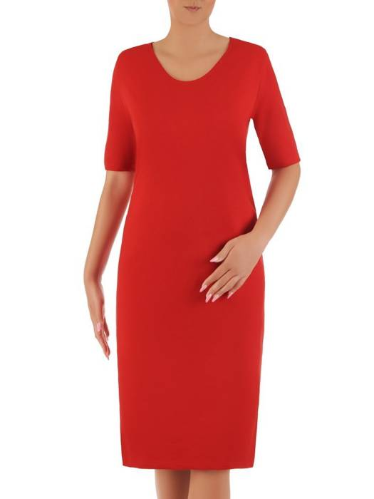 Czerwona sukienka z dzianiny 26393