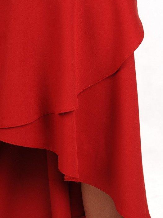 Czerwona sukienka z falbanami, wieczorowa kreacja z dekoltem carmen 18918