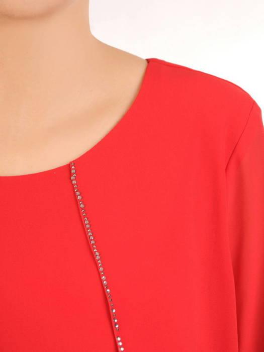 Czerwona sukienka z warstwowego szyfonu zdobiona cyrkoniami 31000