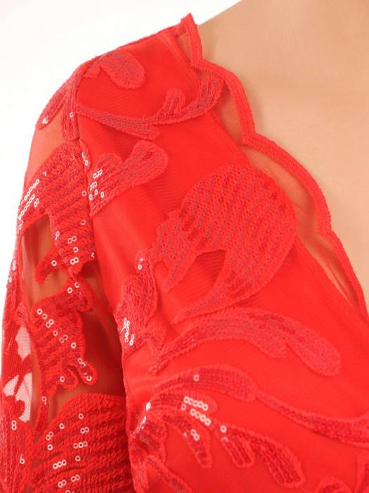 Czerwona suknia maxi, wieczorowa kreacja zdobiona cekinami 30589