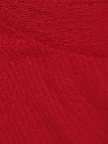 Czerwona tunika Marcjanna II, kreacja z asymetryczną narzutką.