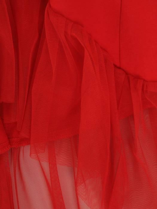 Czerwona tunika z ozdobną falbaną z tiulu 29457
