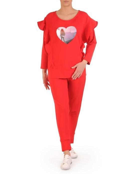 Czerwony komplet dresowy z aplikacją na bluzie 28699