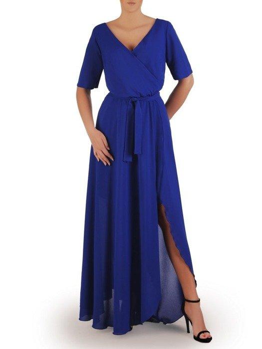 Długa chabrowa sukienka z ozdobnym rozcięciem 25939