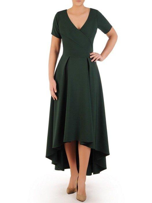 Długa sukienka kopertowa, kreacja z ozdobą na plecach 22755