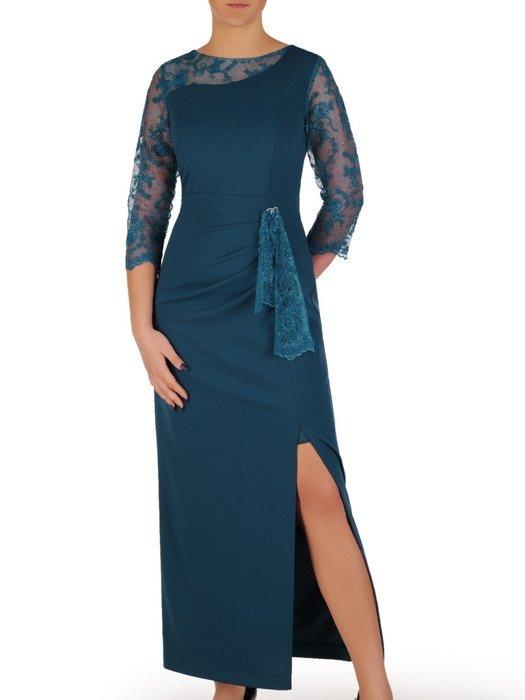 Długa sukienka z efektownym rozcięciem, wieczorowa kreacja w modnym kolorze 18883