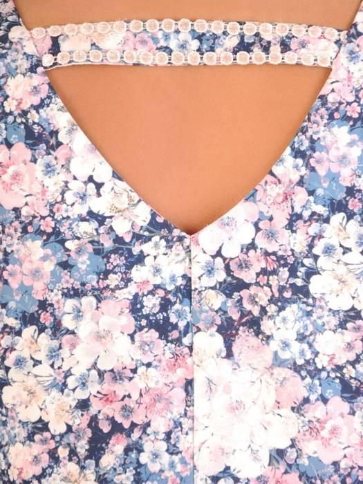Dopasowana bluzka w kwiatowy wzór z luźnymi rękawkami 30218
